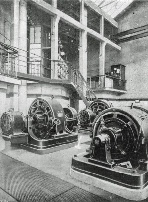 SWEHS 3.1.092.jpg - Date c1900 - Interior of Underfall Yard Substation showing converters and EHT switchgear gallery. Bristol, Hotwells .