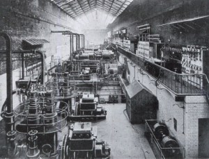 SWEHS 3.1.100.jpg - Date c1905 - Avonbank (Feeder Road) Generating Station interior of engine room and switch gallery. Bristol, St Philips Name changed from Avonbank to Feeder Road to avoid confusion with Avonmouth..