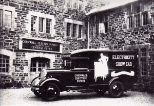 SWEHS 7.0.015.jpg - Date 1936 - Cornwall Electric Power Company show car at the Head Office of the company. Cornwall, Redruth, Carn Brea .