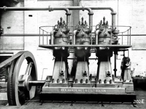 SWEHS 7.1.193.jpg - Date unknown - Newquay Mount Wise power station commenced supply in 1906. 230/460 volt direct current 435kW, oil (1926). Hick, Hargreaves & Co. Ltd., Bolton engine. Cornwall, Newquay .