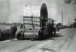 SWEHS 9.0.092.jpg - Date unknown - River Taw crossing. 21 ton drum of Callender 33,000kV submarine cable for Whitehall Securities Corp. Ltd. View of drum on special low loading wagon. Devon, Barnstaple .