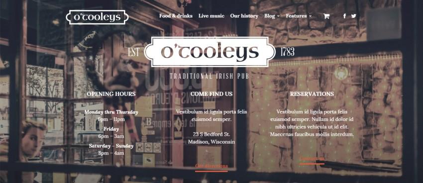Ресторан - креативный ресторан WordPress Theme