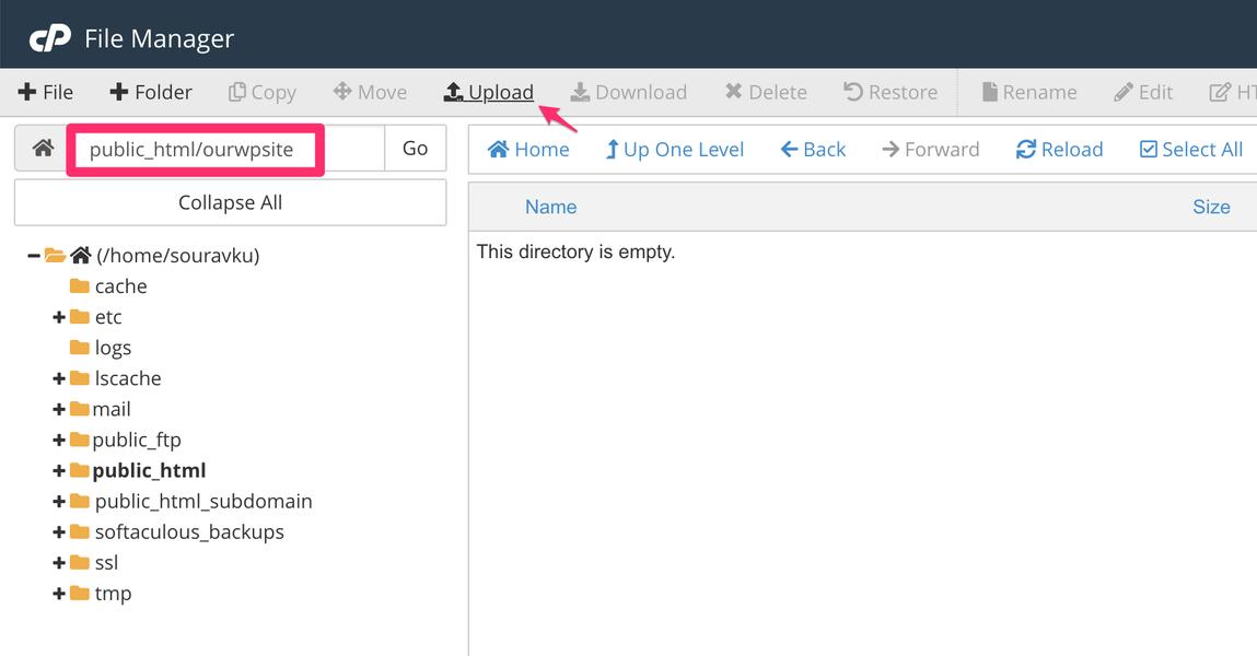 установочный каталог WordPress в cpanel