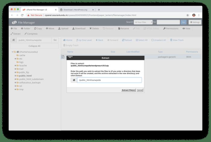 extraer archivos de wordpress en cpanel