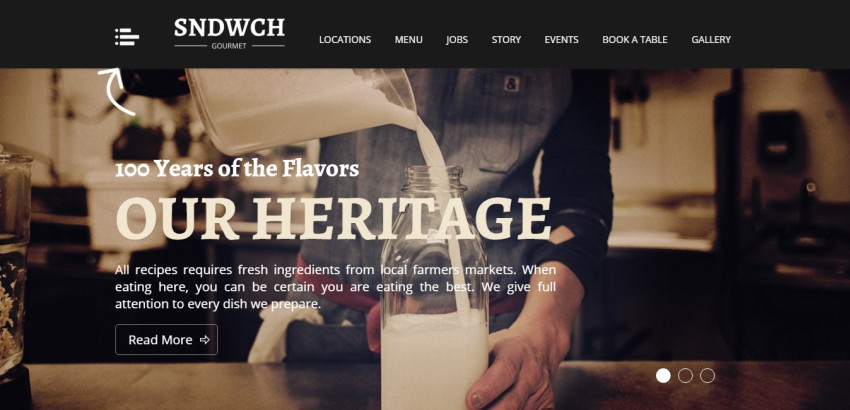 SNDWCH - ресторан WordPress Theme