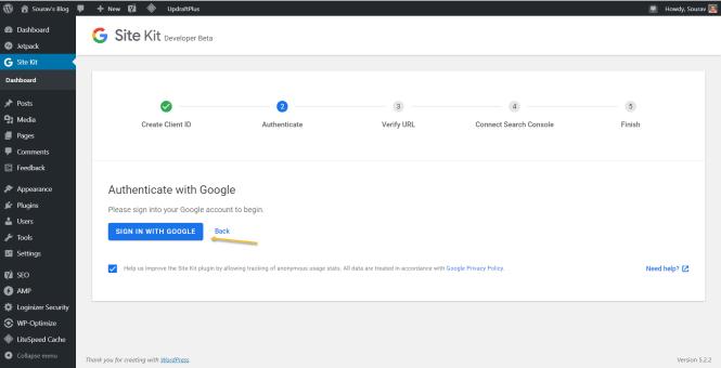 Plugin Google Site Kit pour la configuration WordPress - Connexion au compte Google