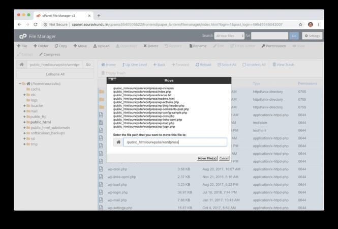 déplacer des fichiers wordpress dans un nouveau répertoire