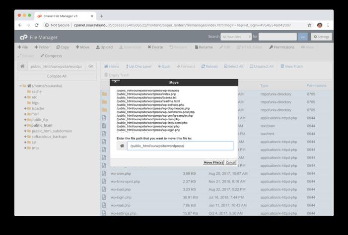 mover archivos de wordpress a un nuevo directorio