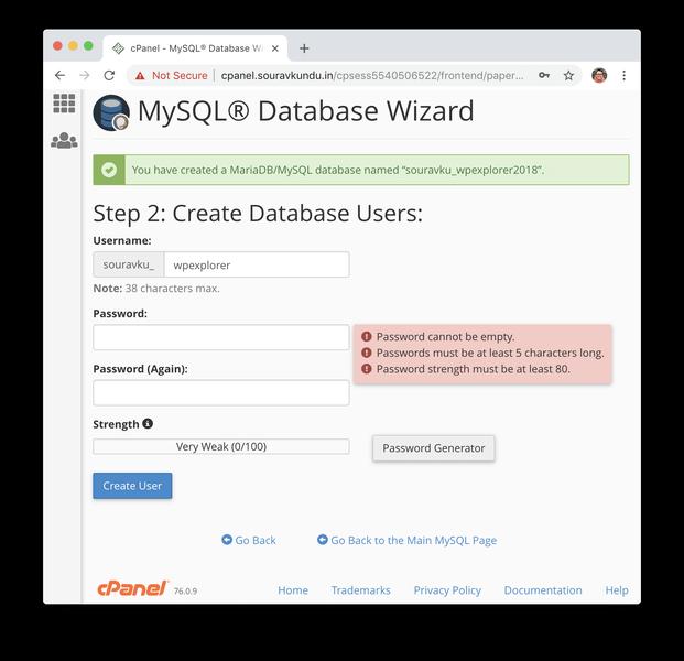 Creando nueva base de datos mysql en cpanel 2 db usuario y contraseña
