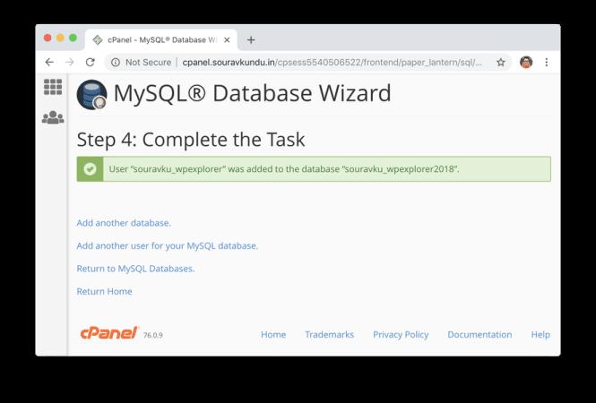 création d'une nouvelle base de données mysql dans cpanel créée avec succès