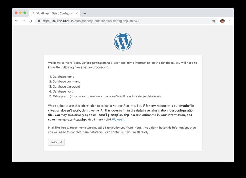 WordPress 5 минут установить 2 начать