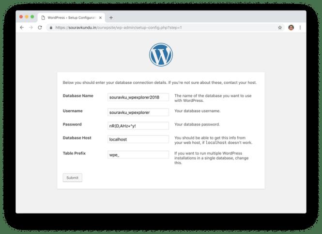 wordpress 5 minute install 3 entrez les détails de la base de données