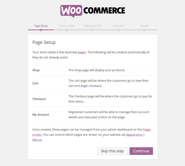 WooCommerce Setup: Pages
