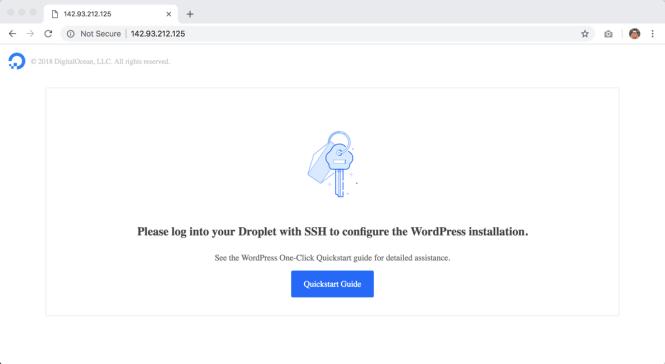 Un droplet WordPress non configuré dans DigitalOcean