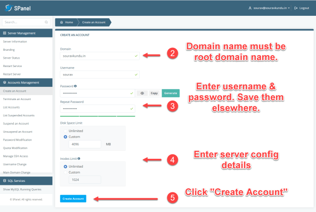 How to create a new user account in Scala spanel VPS 2