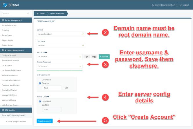 Comment créer un nouveau compte utilisateur dans Scala spanel VPS 2