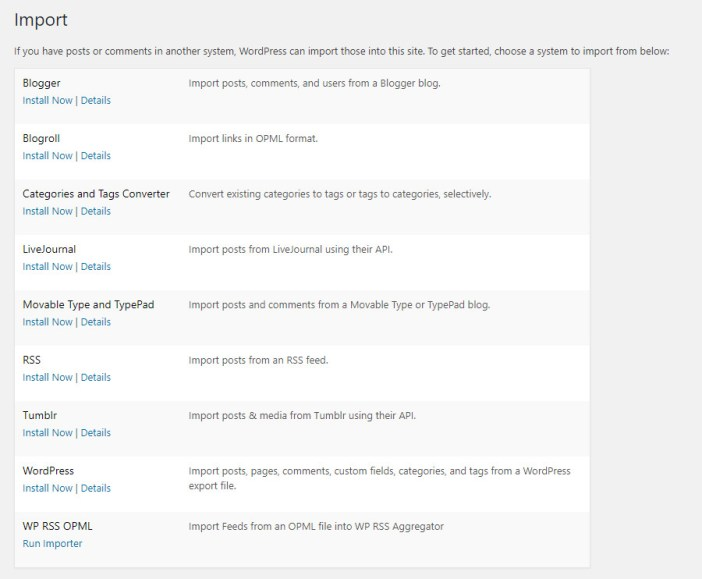 Importación nativa de WordPress