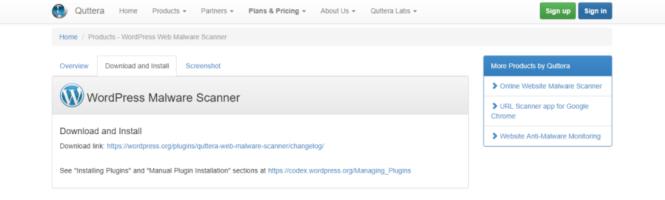 Scanner WordPress Quttera