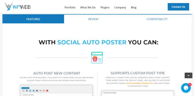 caractéristiques de wpweb de l'affiche d'auto sociale