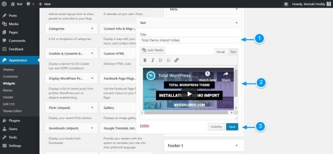 ajouter une vidéo à wordpress via des widgets