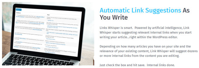link whisper suggestions automatiques de liens
