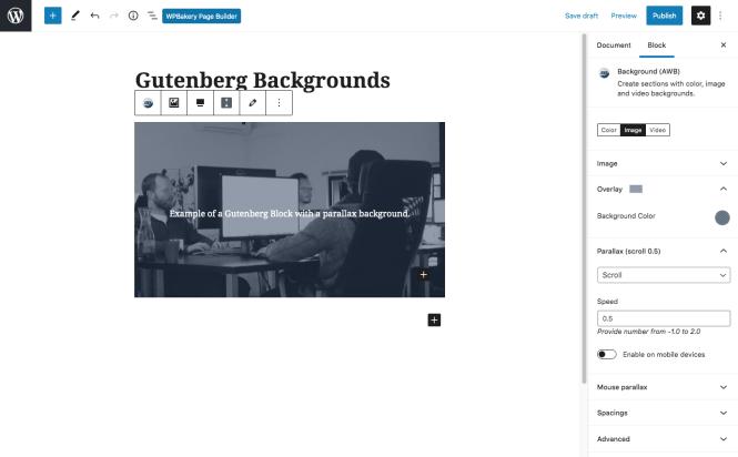 Arrière-plans WordPress avancés Paramètres de Gutenberg