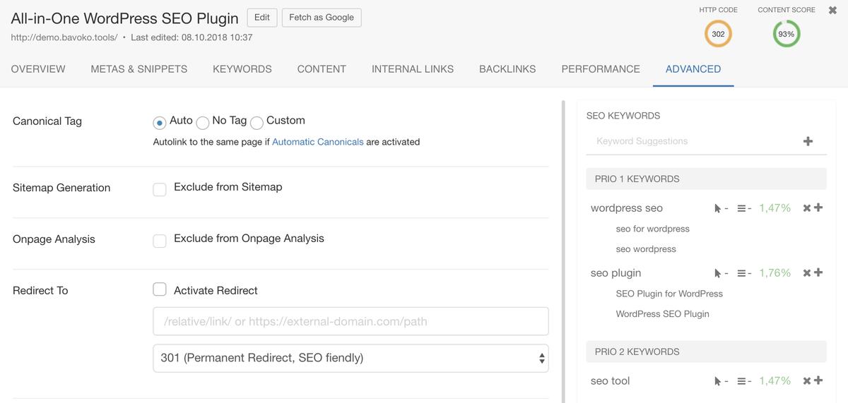 bavoko wordpress seo content optimization additional options