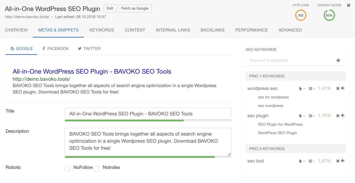 bavoko wordpress seo content optimization social snippet