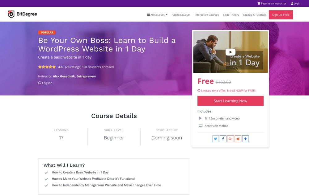 Будьте вашим собственным боссом WordPress курс от BitDegree