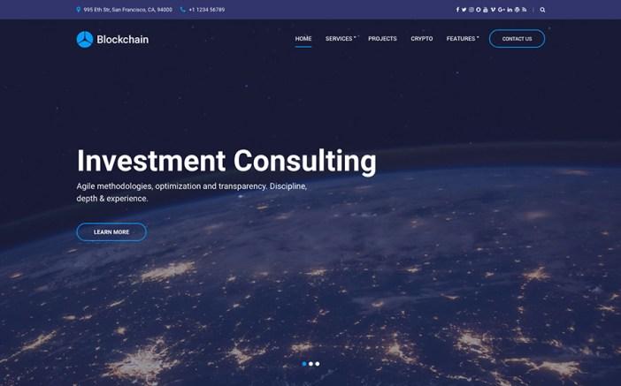 Blockchain Cryptocurrency & Consulting Tema de WordPress