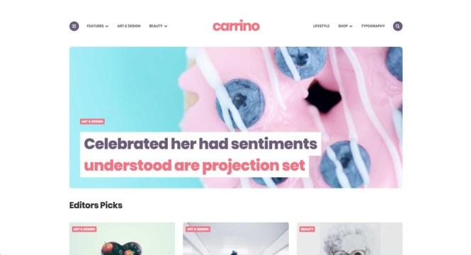Carrino - Meilleurs thèmes WordPress pour Gutenberg