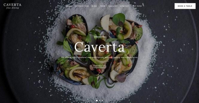 Thème WordPress pour restaurant gastronomique Caverta