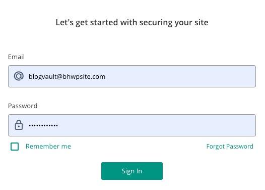 Créer un compte BlogVault
