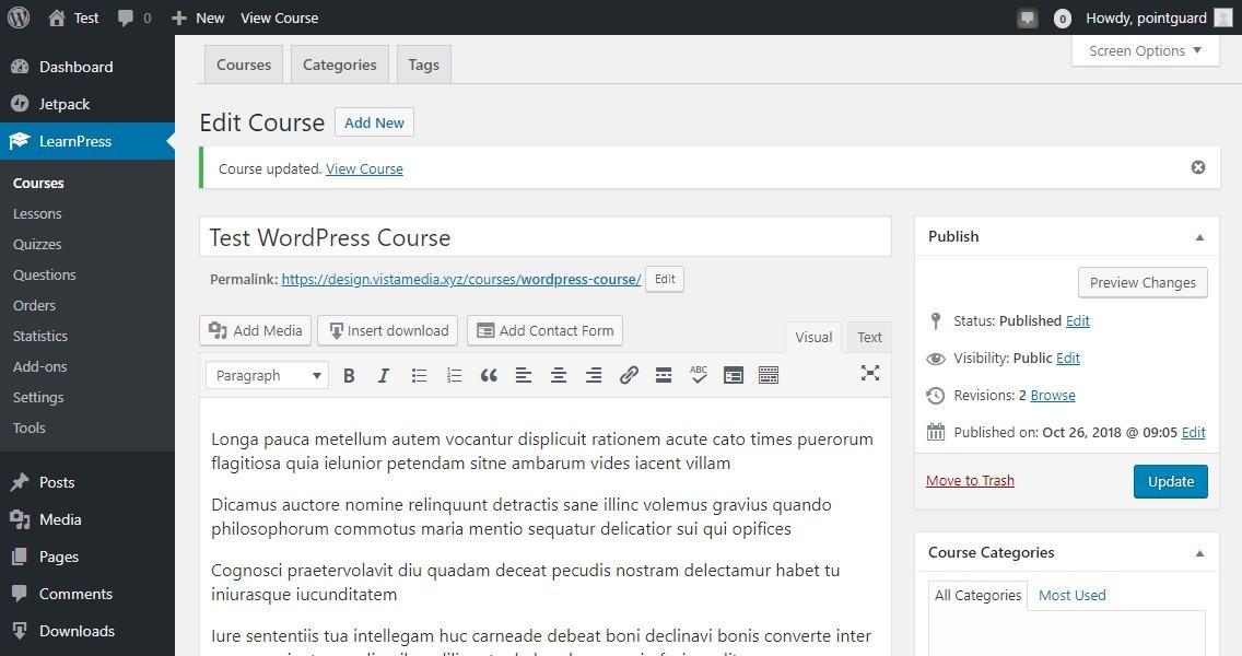 creating course in learnpress wordpress plugin