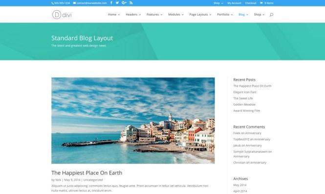 Divi Multipurpose, Blog WordPress Theme