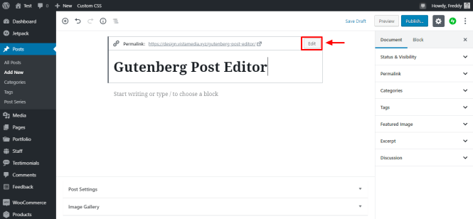 éditer post permalien dans gutenberg