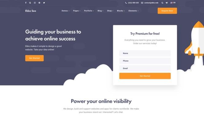 Thème Ekko SEO WordPress avec Page Builder