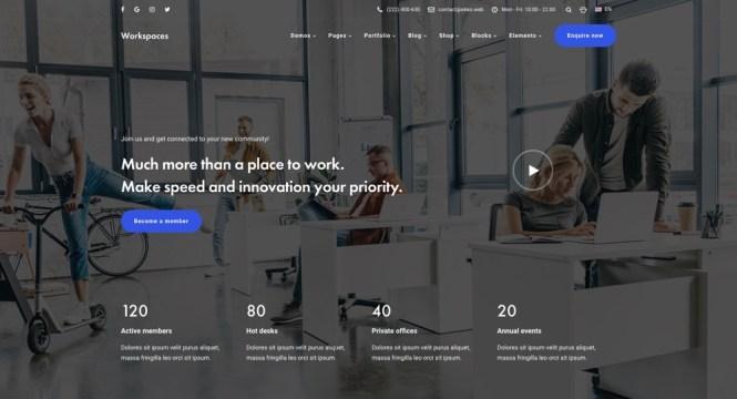 Thème WordPress Ekko Workspace avec générateur de page