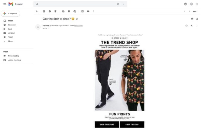 Exemple: E-mail Forever21