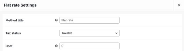 Default WooCommerce Settings Flat Rate Shipping