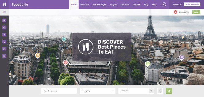 FoodGuide - Thème WordPress pour le répertoire restaurants et bars