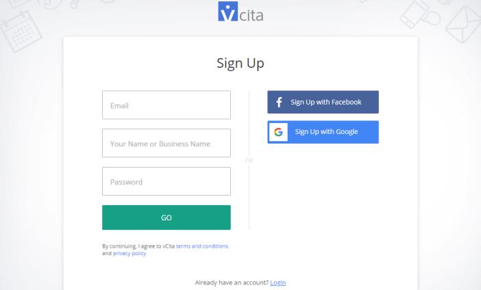 registrarse para una cuenta vcita