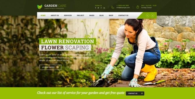 Thème WordPress Entretien du jardin