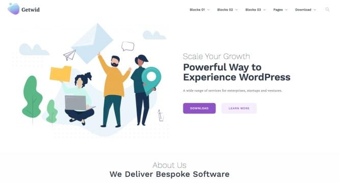 Getwid Base - Meilleurs thèmes WordPress pour Gutenberg
