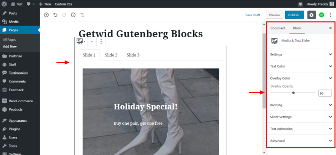 paramètres de bloc de curseur de texte multimédia getwid