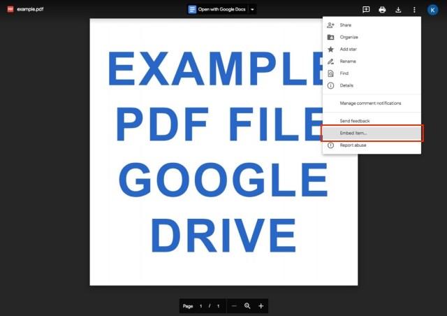 Google Drive: Embed Option