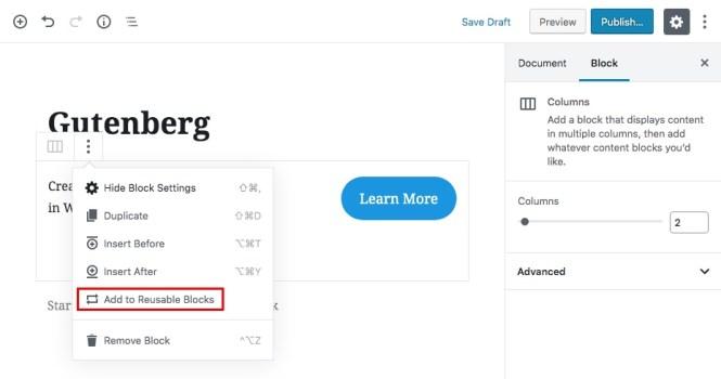 Bloc de contenu réutilisable Gutenberg Étape 1