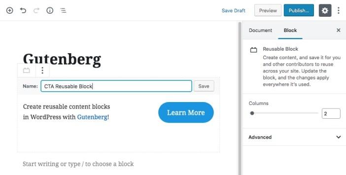 Gutenberg Reutilizable Bloques de Contenido Paso 2