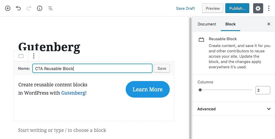 Многоразовые блоки контента Гутенберга Шаг 2