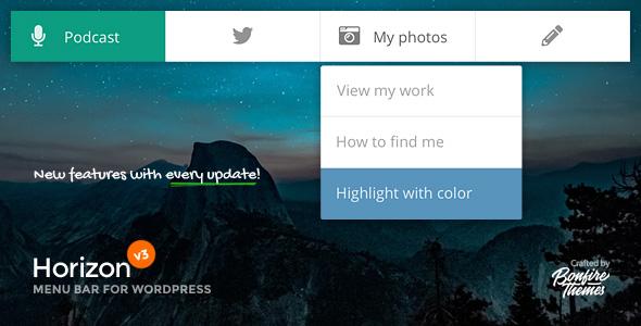 Plugin Premium de la barre de menus Horizon pour WordPress